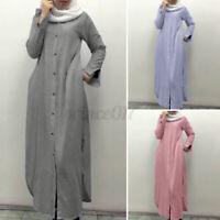 Women UK Muslim Long Sleeve Striped Elegant Ladies Kaftan Tunic Maxi Shirt Dress