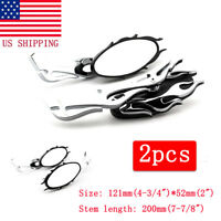 Chrome Flame Rearview Mirrors For Harley Motorcycle Cruiser Chopper Custom USA