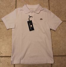 NWT Vineyard Vines Boys Medium (12/14) Santa Whale Embroidered Polo White Shirt