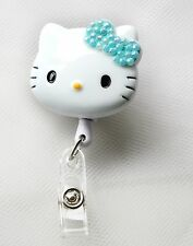 "Bling Hello Kitty 45mm / 1.9"" Retractable Reel ID Badge Holder_lit blue Bow 1pc"