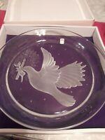 "Beautiful Sasaki Crystal Serving Platter Deep Cut Etched Dove Vtg 6lbs!! 12.5"""