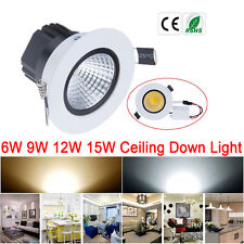 Dimmable 6W 9W 12W 15W COB Downlight Ceiling Recessed Panel Lighting with Driver
