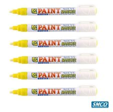 More details for 6 paint marker pens yellow crown brand works metal rubber plastic china bysmco