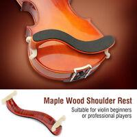 1 Set Maple Wood Adjustable Violin 3/4 4/4 Size Shoulder Rest with Sponge Pad