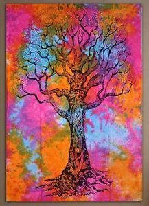 Indian Queen Tie-Dye Tree Of Life Tapestry Hippie Wall Hanging Bed Throw Boho