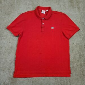 LACOSTE LIVE Polo Shirt Men's Size Large Red Gator Logo Short Sleeve EUR Size 5