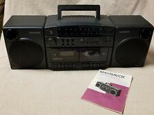 MAGNAVOX AW7520 Stereo AMFM Radio Dual Cassette Recorder BOOMBOX w/ Manual EUC