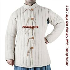 Medieval Perfect White Color Gambeson With Padded Collar 100% Pure Cotton