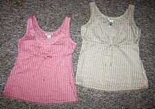 (2) STAMP 10 * Designer Embroidered Cotton & Lace TANK TOPS Side Zip * Sz 10