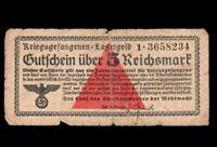 GERMANY NAZI 5  REICHSMARK   1939 - 1944 PRISONER OF WAR POW CAMP