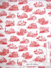 Farm Barn Toile Red Farming Buildings Cotton Fabric QT Homestead By The Yard