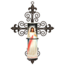 LED Flameless Prayer Candle W/ Cross Sconce Divine Mercy, Automatic 6 HR Timer