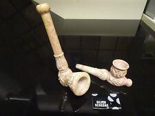 "(2) Carved  4"" Stone Smoking Pipe Detachable Bowls  Glass Alternative  NS2 + 177"