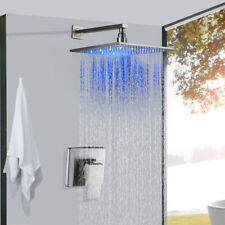 Shower Faucet Combo 8 inch LED Rainfall Shower With Mixer Vavle Brushed Nickel