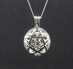 "Sterling Silver Pentagram Tumblestone Locket Necklace 18"" Sterling Silver Chain"