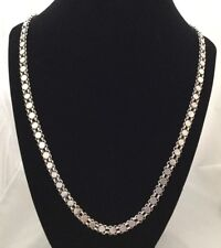 """Vintage Chinese Tibetan 900 Silver Deco Over Head 37"""" Necklace - 60 Grams"""