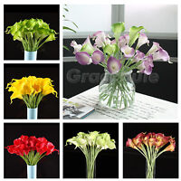 6-20 Heads Real Latex Touch Calla Lily Flower Wedding Bouquets Home Party Decor