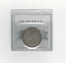 **1934**, Coin Mart Graded Canadian 50 Cent, **F-15**