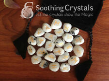 Rainbow Moonstone Runes Set for healing with stylish pouch rune set