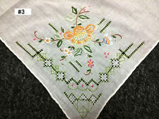 12 Pieces Hand Stitch Embroidered Embroidery Fine Linen Handkerchief Hankie #3