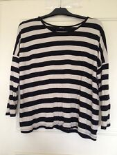 M&Co Beige/Cream/Gold Black Stripe Striped 3/4 Length Sleeve Summer Top Size M