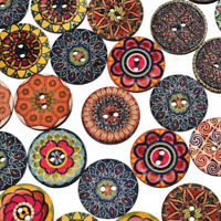 100Pcs Retro Round Flower Wooden Button DIY Handmade Button Mixed Sewing Tool