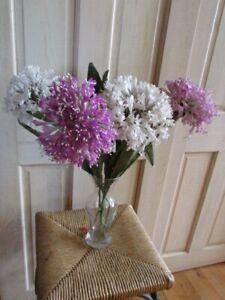 "Vtg Millinery Flower Collection Purple White 5"" Allium 4pc on Long Stem Y308E"