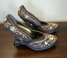 Qupid Brown Embroidered Floral Crutch Heel Boho Hippie Shoe Heels Size 6M