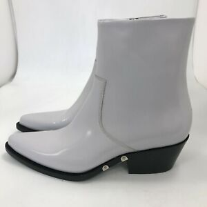 New Calvin Klein Ankle Boots UK 6 EU 39 Grey Off White Shiny Leather 481560