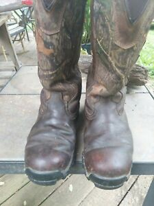 Cabela Mens Hunting Boots. Snakeguard Extreme. Size 10m. Leather/Camo.