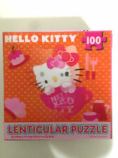 "Hello Kitty Cup Lenticular Jigsaw Puzzle 100 PC 12"" x 9"" Orange"