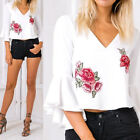 Women's Loose Chiffon Floral V-Neck Tops Long Sleeve Shirt Casual Blouse New.