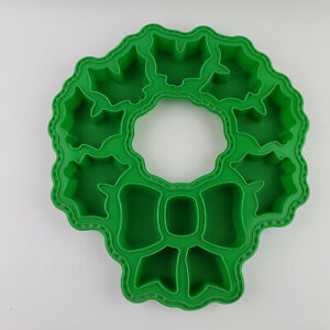 """Holiday/Christmas Green Silicone Mold Wreath with Bow 12 Sections 1"""" Deep"""