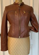 Bebe Woman's Leather Jacket Size Small Color Brown Gold zippers