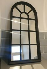 Black Window Style Arched Wall Mirror 70 x 36 cm High Modern Chic NEW