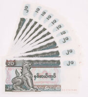 Myanmar Paper Money 20 Kyat 10 Pcs Banknotes Currency World UNC Collections