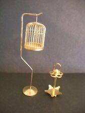 Vintage BRASS BIRD CAGE & UMBRELLA STAND MINIATURE DOLLHOUSE