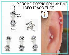 Piercing Orecchino Uomo Donna Acciaio Chirurgico Trago Helix Stella Zircone