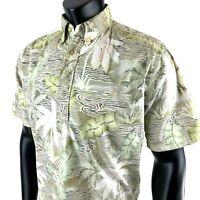 Vintage Reyn Spooner Mens Medium Hawaiian Shirt Reverse 1/4 Button Print Floral