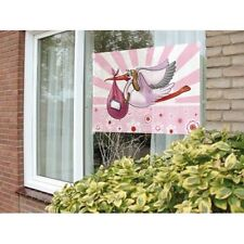 Flag New Arrival Its a Girl Window Decoration with Stork Design 60x90cm