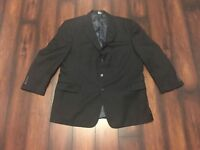 Jos A Bank Signature Collection Black 48R Regular Pin Striped Wool Coat Jacket