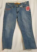 "Apple Bottom Cropped 25"" Inseam Jeans Size 11/12 Rhinestones Apple Hip Pockets"