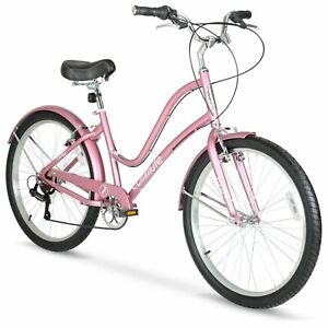 "Women's 26"" Comfortable Commute Lightweight Bike, 7-Speed, Rose Gold"