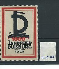 wbc. - CINDERELLA/POSTER - CE05 - EUROPE- 1000 JAHRFEIER DUISBURG - 1925
