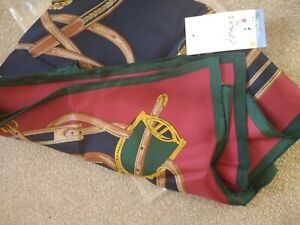 JOULES BLOOMFIELD SQUARE SILK SCARF in NAVY RED GREEN GOLD HERIGAGE. BNWT