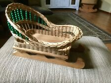 Handmade Large Sleigh Basket With Green Wooden Beads, 1991