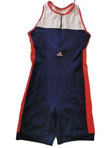 Adidas Uk 16 Triathlon Cycling Suit Red Blue White Racing Bib