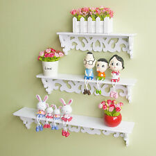 3Pcs Chic Wooden Wall Mounted Shelf Display Chic Filigree Floating Storage Unit