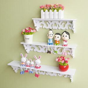 3Pcs Chic Wooden Wall Mounted Shelf Display Filigree Floating Storage Unit Decor