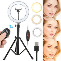 "8"" LED Ring Light Kit With Stand Dimmable Makeup Phone Camera Selfie Lighting US"